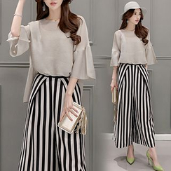 Ashlee - Set: Elbow-Sleeve Chiffon Top + Striped Wide Leg Pants