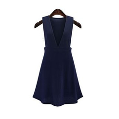 GRACI - Plain V-neck Sleeveless Dress