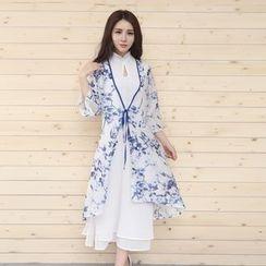 Diosa - 3/4-Sleeve Floral Light Jacket + Sleeveless Midi Dress