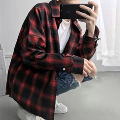 Soulcity - Plaid Brushed Long-Sleeve Shirt