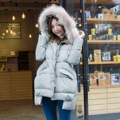 Daiyake - Furry-Trim Hooded Puffer Coat
