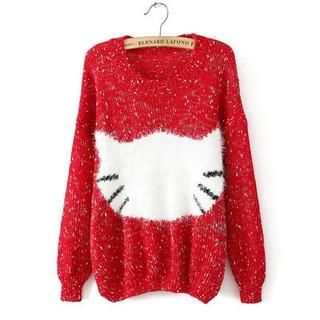 JVL - Cat-Pattern Mixed Sweater