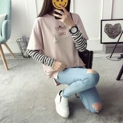 Qimi - Lettering Mock Two-Piece Long-Sleeve T-Shirt