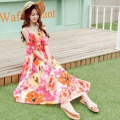 Angel Shine - Floral Print Chiffon Sundress