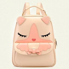 BeiBaoBao - Faux Leather Cat Face Backpack