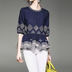 Alaroo - Embroidered Elbow Sleeve Blouse