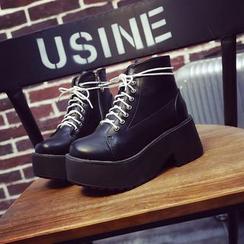 SouthBay Shoes - Platform Lace-Up Short Boots