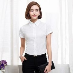 Eleganza - Plain Short-Sleeve Dress Shirt