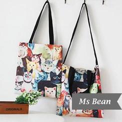 Ms Bean - Cat Print Canvas Shopping Bag