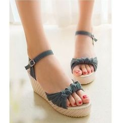Freesia - Knot Wedge Sandals