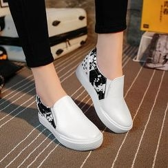 Ginko - Faux-Leather Studded Slip-Ons