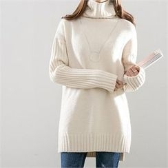 PIPPIN - Mock-Neck Rib-Knit Dress