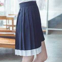 Aurora - Asymmetric-Hem Pleated A-Line Skirt