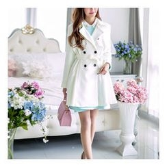 Bongjashop - Contrast-Button Trench Coat with Sash