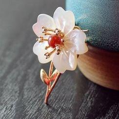 Green Finch - Flower Beaded Brooch