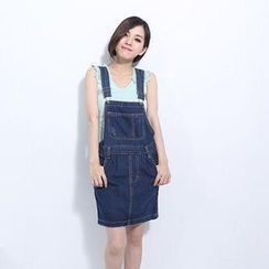 Lucky Leaf - Denim Suspender Skirt