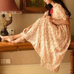 MUSI - Floral Print Short-Sleeve Maxi Chiffon Dress