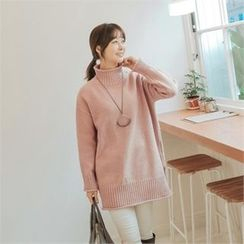JOAMOM - Mock-Neck Long Knit Top
