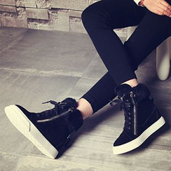 Siya - Furry Trim Hidden Wedge Sneakers