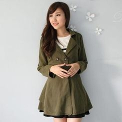 Mini Jule - Tie-Waist Ruffle Trench Coat