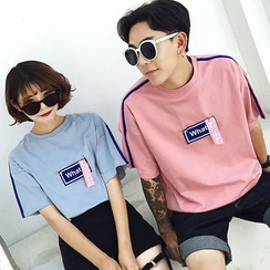 Azure - Couple Matching Short-Sleeve Lettering T-Shirt