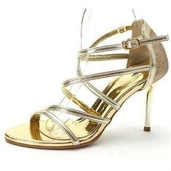MODELSIS - Cross-Strap Glittered Sandals