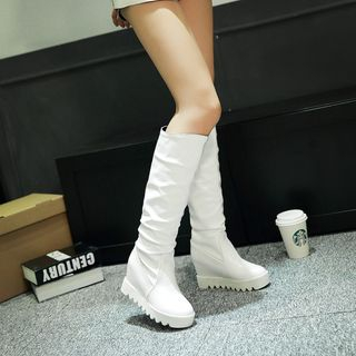 Pretty in Boots - Ruched Hidden Wedge Tall Boots