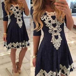 Katemi - Elbow-Sleeve Lace-Trim Party Dress
