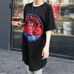 CHICFOX - Short-Sleeve Printed T-Shirt Dress