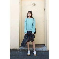 CHERRYKOKO - Raglan-Sleeve Cotton Sweatshirt