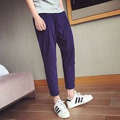 HISDAY - Plain Linen Cotton Tapered Pants