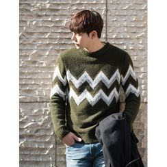 STYLEMAN - Round-Neck Patterned Knit Top