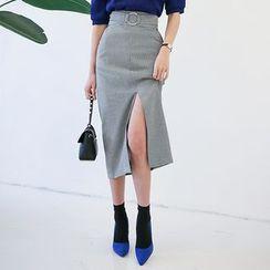 DABAGIRL - Houndstooth Belted Long Pencil Skirt