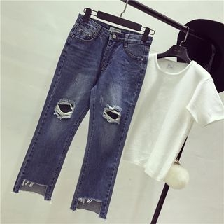 Octavia - Ripped Wide Leg Jeans