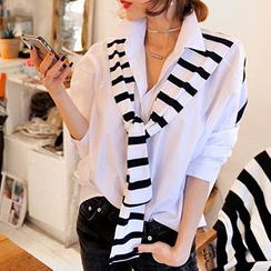Jolly Club - Long-Sleeve Stripe Panel Tied Blouse