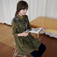BAIMOMO - Long-Sleeve Shirtdress with Camouflage Scarf