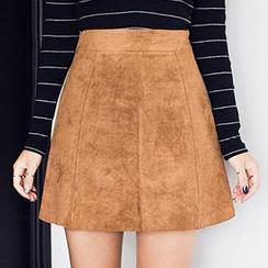 chuu - Faux-Suede A-Line Skirt