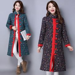 Diosa - Floral Print Long Padded Coat