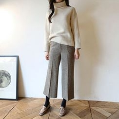 Hello sweety - Flat-Front Houndstooth Pants