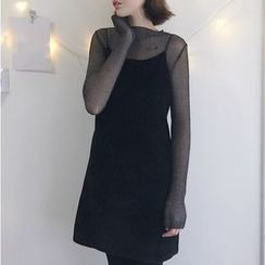 SUYISODA - Set: Sheer Long-Sleeve Top + Spaghetti-Strap Dress