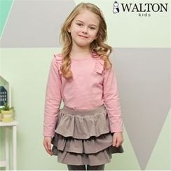WALTON kids - Girls Set: Frilled T-Shirt + Inset Tiered Skirt Leggings