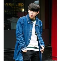 ABOKI - Washed Long Denim Jacket