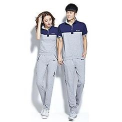 Lovebirds - Set: Short Sleeve Couple Matching Polo Shirt + Sweatpants