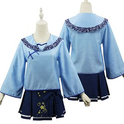 Cosgirl - Set: Chinese Frog Button Long-Sleeve Blouse + Pleated Skirt + Bow