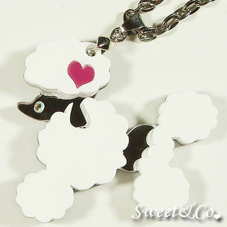 Sweet & Co. - Mirror Heart White Poodle Silver Necklace