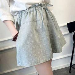 Tangi - Check Linen Cotton Shorts