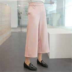 clicknme - Band-Waist Straight-Cut Pants