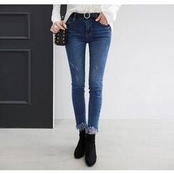 Miamasvin - Fringe-Hem Washed Skinny Jeans