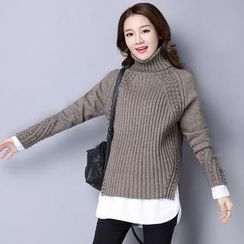 Romantica - Inset Shirt Beaded Knit Sweater