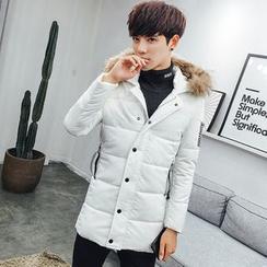 LIBIN - Furry Trim Hooded Long Padded Coat